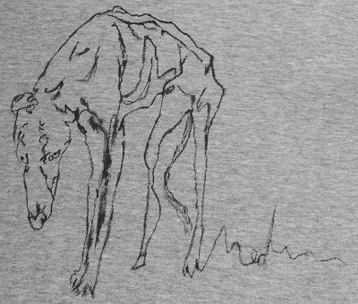 Camiseta pintada a mano GALGO TRISTE