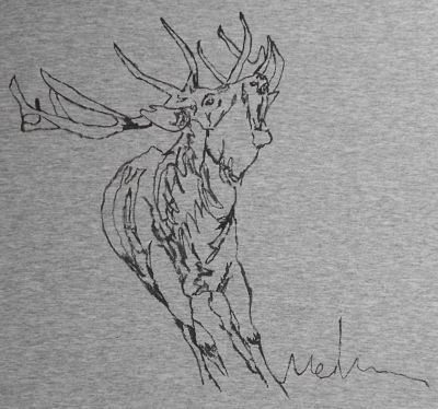 Hand painted t-shirt THE BAWLS OF THE DEER