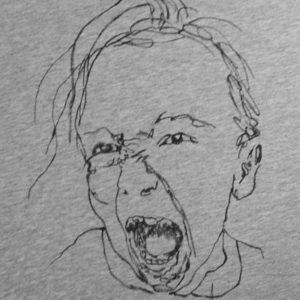 Camiseta pintada a mano NIÑO QUE GRITA