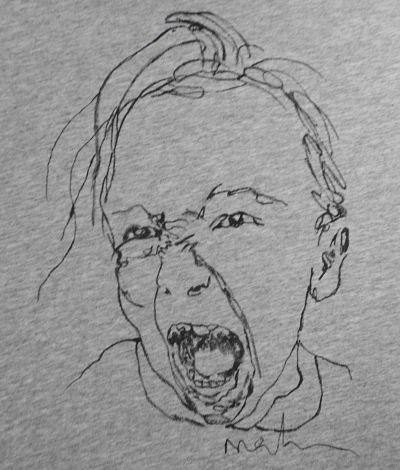 Hand-painted T-shirt CHILD YELLING