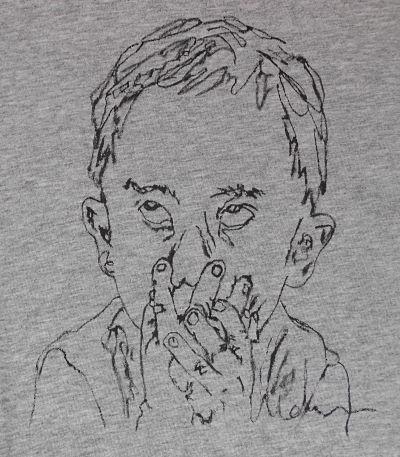 Camiseta pintada a mano NIÑO TIMIDO