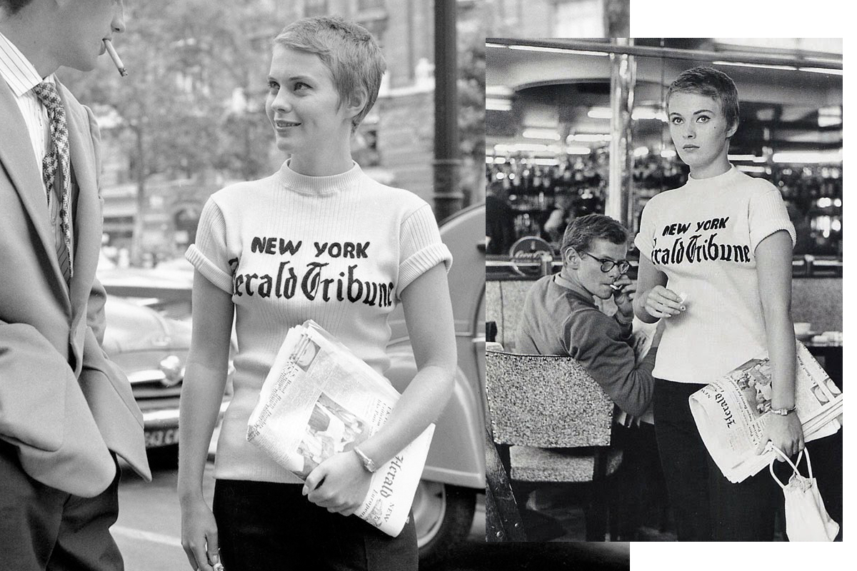 Jean Seberg american actress. with a printed T-shirt